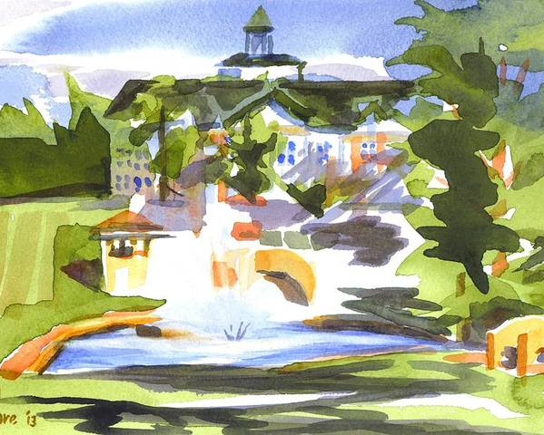 Beautiful Day At The Baptist Home Of The Ozarks In Watercolor Poster featuring the painting Beautiful Day At The Baptist Home Of The Ozarks In Watercolor by Kip DeVore