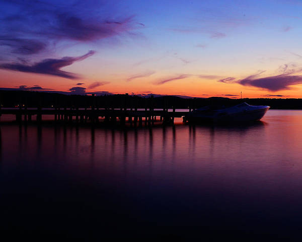 Boat;dock;sunset;lake Poster featuring the photograph Beautiful Sunset by Martin Popov
