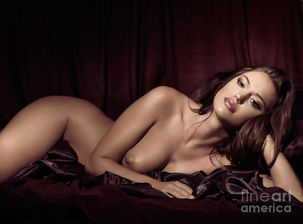 Glamour Poster featuring the photograph Beautiful Young Woman Lying Naked In Bed by Oleksiy Maksymenko