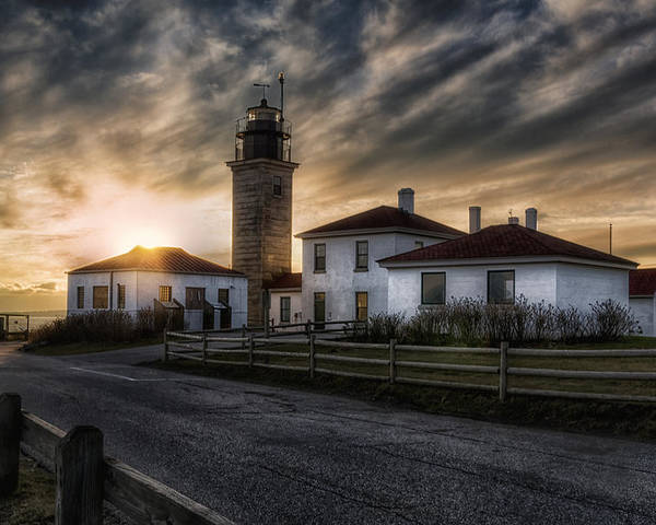 Joan Carroll Poster featuring the photograph Beavertail Lighthouse Sunset by Joan Carroll