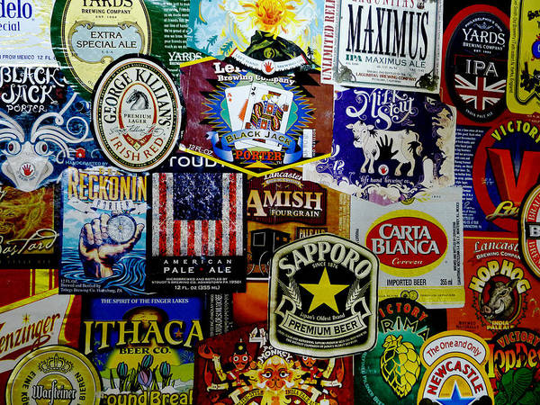 Richard Reeve Poster featuring the photograph Beer Labels by Richard Reeve