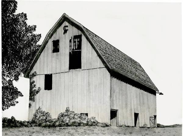 Pencil Barn Drawing Poster featuring the drawing Behind The Barn by Todd Spaur