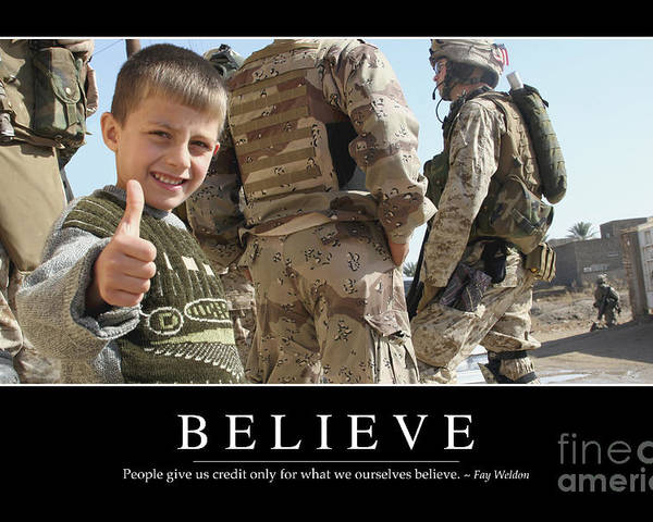 Horizontal Poster featuring the photograph Believe Inspirational Quote by Stocktrek Images