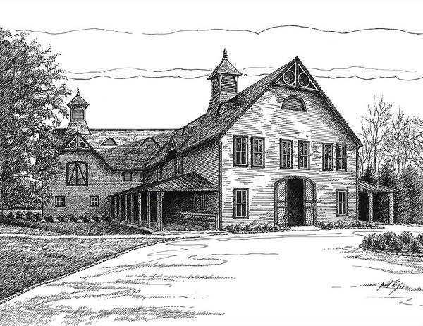 Belle Meade Plantation Poster featuring the drawing Belle Meade Plantation Carriage House by Janet King