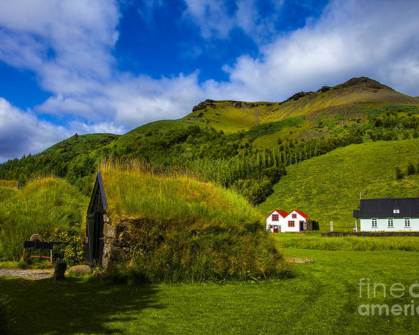 Iceland Turf Homes And Architecture Poster featuring the photograph Below The Hill by Rick Bragan