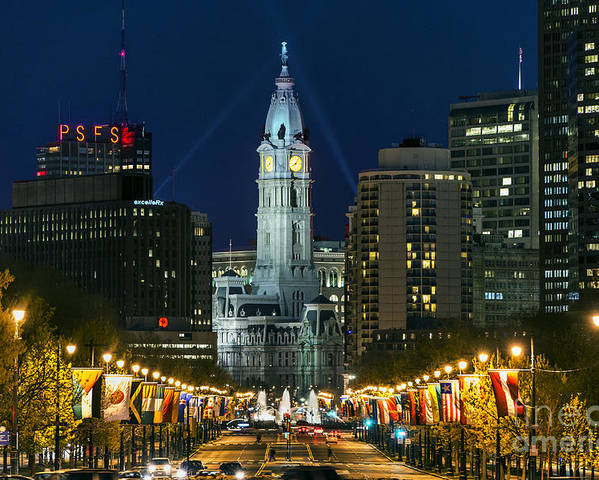 Ben Franklin Parkway Poster featuring the photograph Ben Franklin Parkway And City Hall by John Greim