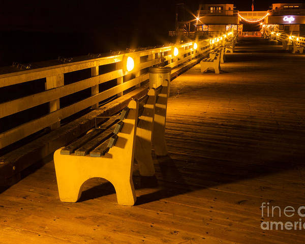 Bench On Malibu Beach Pier At Night Landscape Fine Art Photograph Print  Poster
