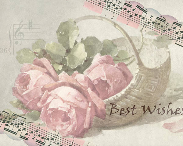 Best Wishes Card Poster featuring the digital art Best Wishes Vintage Roses Card by Sandra Foster