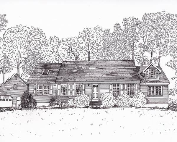 Architectural Drawings. Technical Illustrations Poster featuring the drawing Betsy's House by Michelle Welles