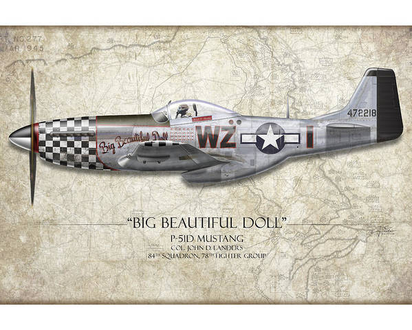 Aviation Poster featuring the painting Big Beautiful Doll P-51d Mustang - Map Background by Craig Tinder