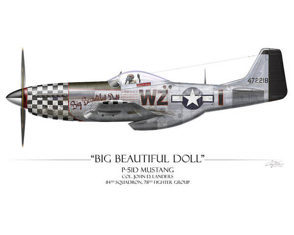 Aviation Poster featuring the painting Big Beautiful Doll P-51d Mustang - White Background by Craig Tinder
