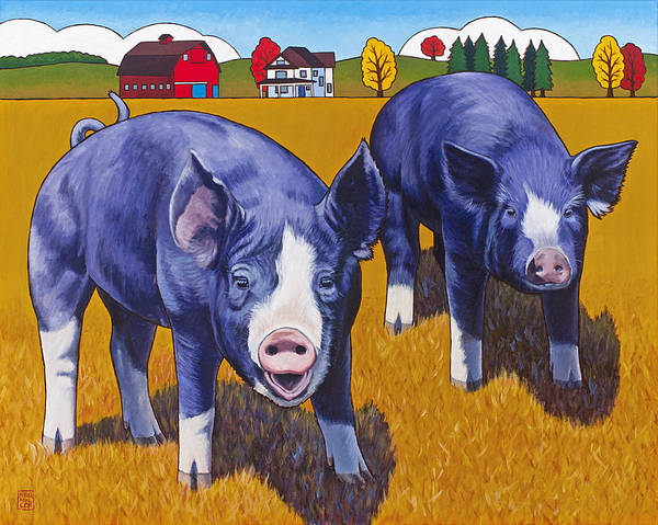 Pig Poster featuring the painting Big Pigs by Stacey Neumiller