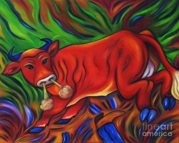 Diconnollyart Poster featuring the painting Big Red Bull Bucks by Dianne Connolly