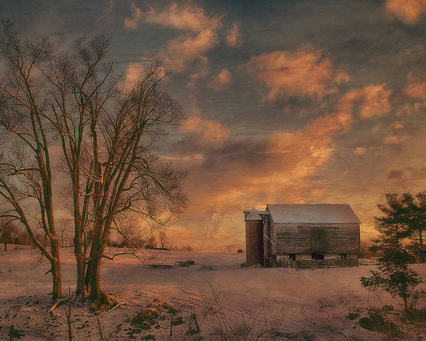 Sunset Poster featuring the photograph Big Tree Little Barn by Kathy Jennings