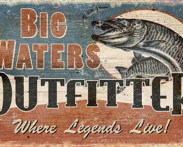 Jon Q Wright Poster featuring the painting Big Waters Outfitters by JQ Licensing