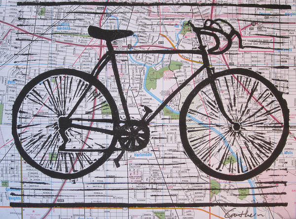 Bike Poster featuring the drawing Bike 8 On Map by William Cauthern
