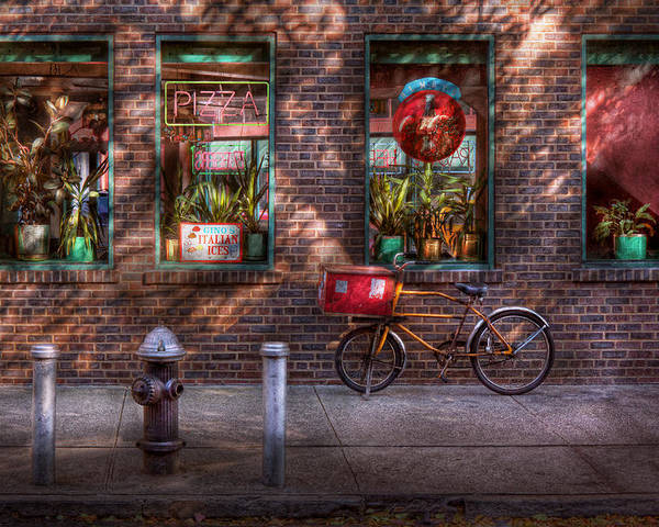 American Diner Poster featuring the photograph Bike - Ny - Chelsea - The Delivery Bike by Mike Savad