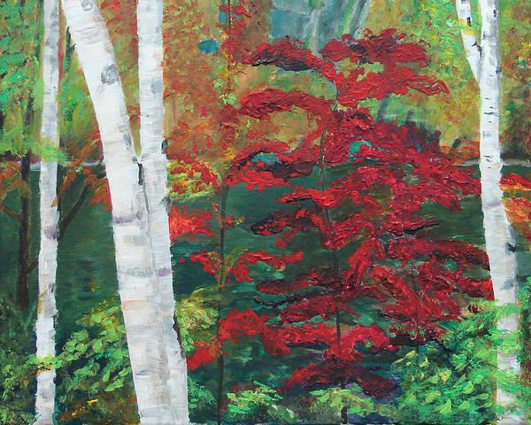 Forest Poster featuring the painting Birch Trees In Red by Frankie Picasso