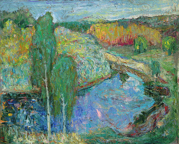 Landscape Poster featuring the painting Birches by Evgen Bondarevskiy
