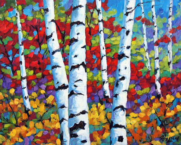 Canadian Landscape Created By Richard T Pranke Poster featuring the painting Birches In Abstract By Prankearts by Richard T Pranke