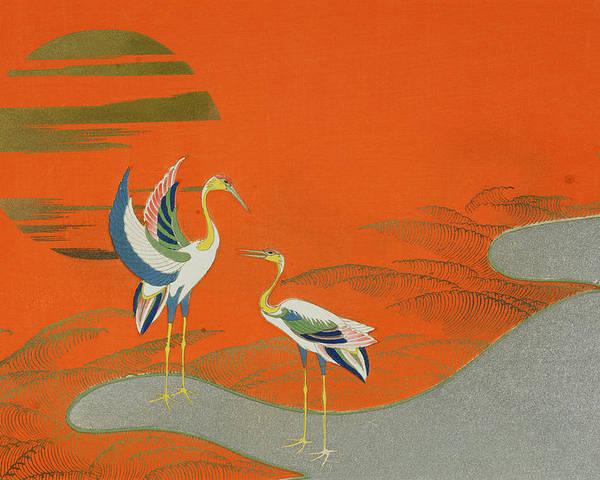 Birds At Sunset On The Lake Poster By Kamisaka Sekka