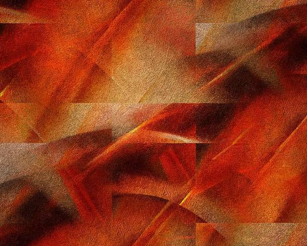 Abstract Poster featuring the digital art Birds In Sunset Glow by Gun Legler