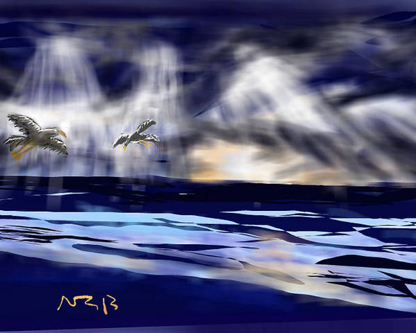 Seascape Poster featuring the digital art Birds In The Light by Nancy Good