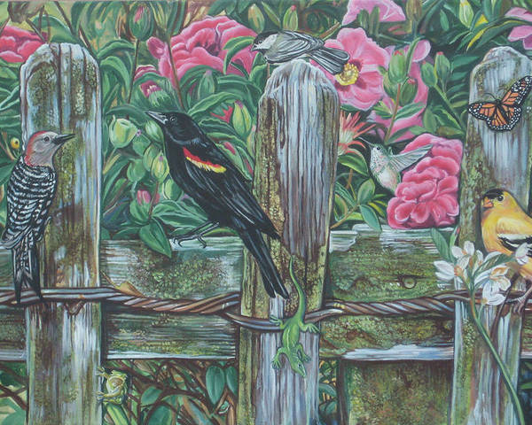 Birds Poster featuring the painting Birds On A Fence by Diann Baggett