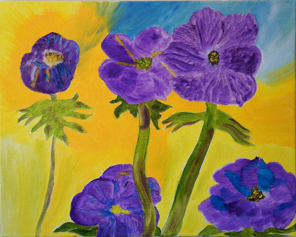 Purple Poster featuring the painting Birthday Memory by Meryl Goudey