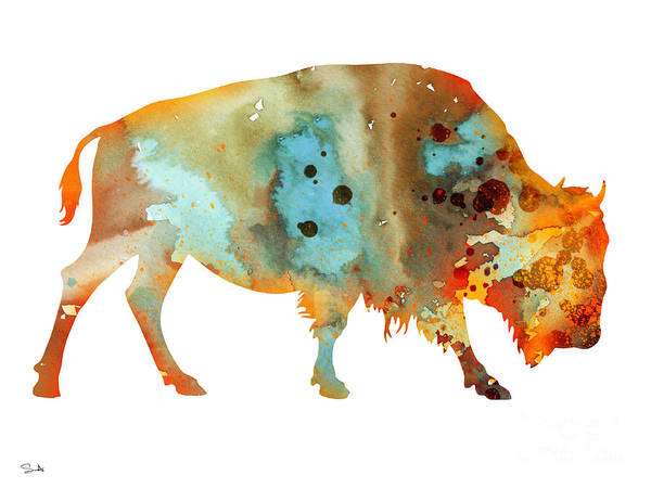 Bison Watercolor Print Poster featuring the painting Bison 5 by Watercolor Girl