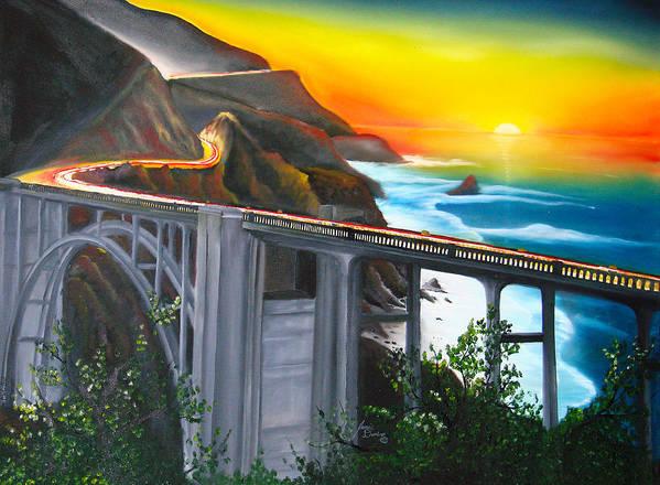 Beautiful California Sunset! Poster featuring the painting Bixby Coastal Bridge Of California At Sunset by Dunbar's Local Art Boutique