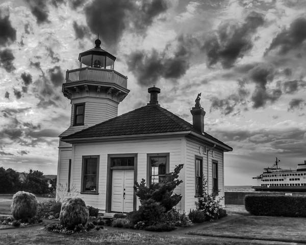 Lighthouse Poster featuring the photograph Black And White Mukilteo Lighthouse by Puget Exposure