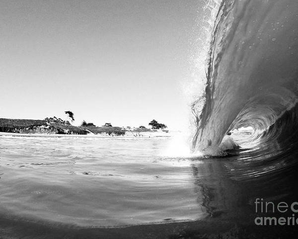 Wave Poster featuring the photograph Black And White Santa Cruz Wave by Paul Topp
