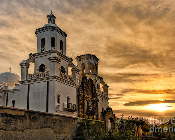 San Xavier Mission Poster featuring the photograph Black And White Sunrise Over Mission by Larry White