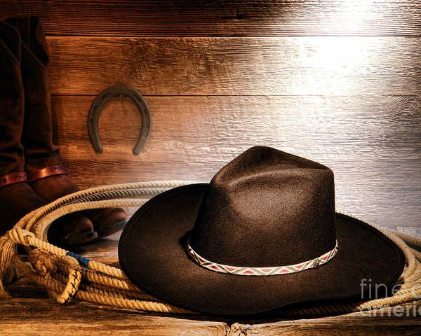 Cowboy Poster featuring the photograph Black Felt Cowboy Hat by Olivier Le Queinec