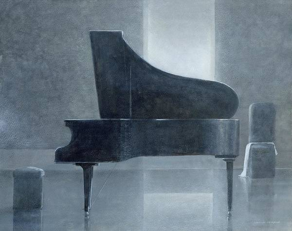 Music; Musical; Instrument; Grand; Interior; Open Lid; Piano Poster featuring the painting Black Piano 2004 by Lincoln Seligman