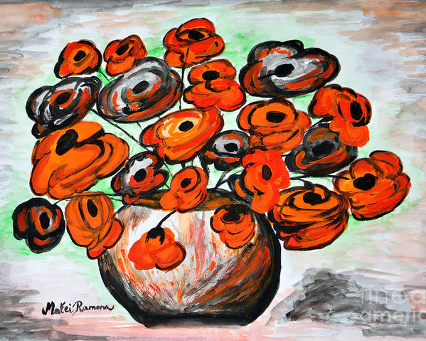 Poppies Poster featuring the painting Black Poppies by Ramona Matei