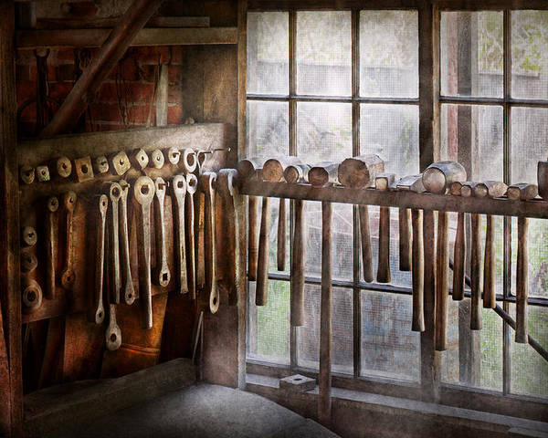 Blacksmith Poster featuring the photograph Black Smith - Draw Plates And Hammers by Mike Savad