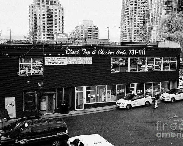 Black Poster featuring the photograph black top and checker cabs office Vancouver BC Canada by Joe Fox