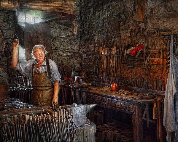Blacksmith Poster featuring the photograph Blacksmith - Working The Forge by Mike Savad