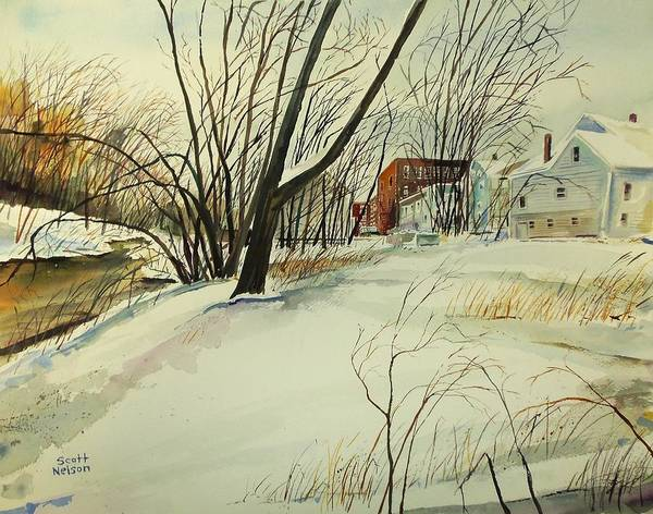 Watercolor Poster featuring the painting Blackstone River Snow by Scott Nelson