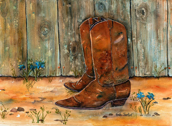 Boots Poster featuring the painting Bless My Boots by Renee Chastant