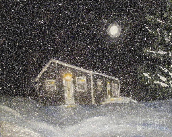 Barbara Griffin Poster featuring the painting Blizzard At The Cabin by Barbara Griffin