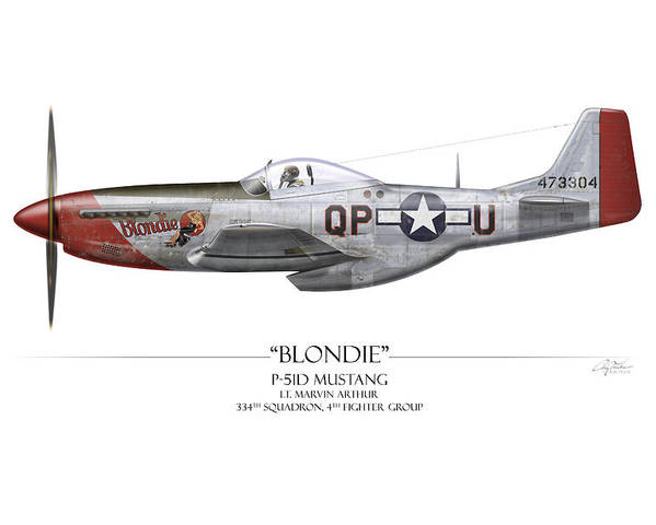 Aviation Poster featuring the painting Blondie P-51d Mustang - White Background by Craig Tinder