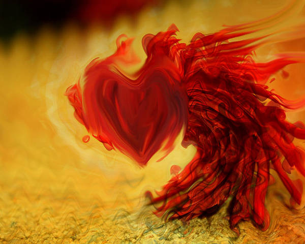 Blood Red Heart Poster featuring the digital art Blood Red Heart by Linda Sannuti