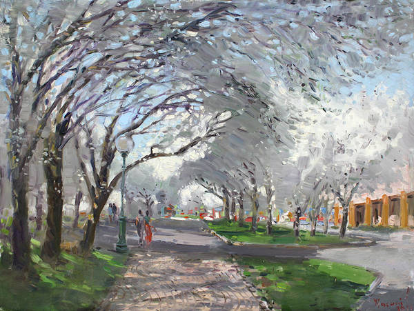 Blooming Trees Poster featuring the painting Blooming In Niagara Park by Ylli Haruni