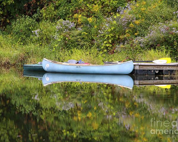 Pond Poster featuring the photograph Blue Canoe by Deborah Benoit