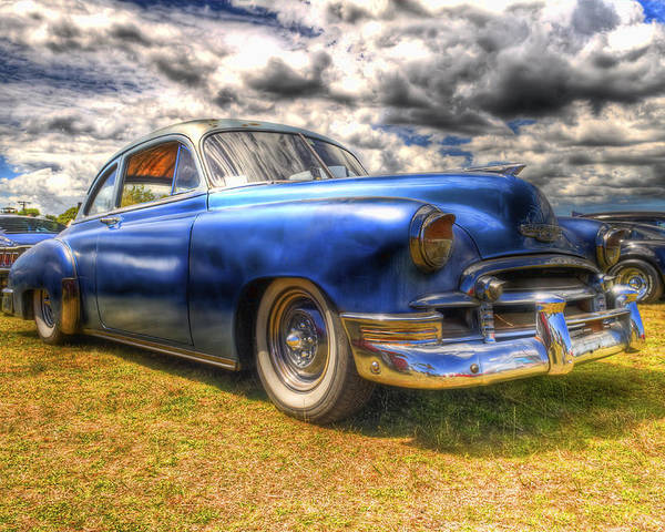 Fifties Automobile Poster featuring the photograph Blue Chevy Deluxe - Hdr by Phil 'motography' Clark
