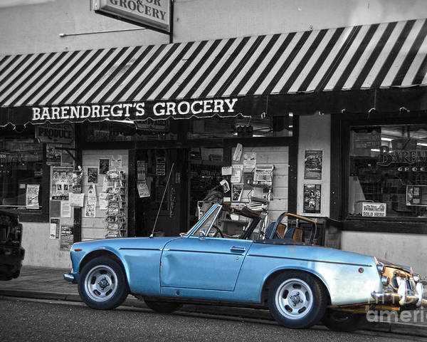 Car Poster featuring the photograph Blue Classic Car In Jamestown by RicardMN Photography