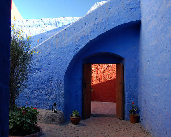 Monastery Poster featuring the photograph Blue Courtyard by RicardMN Photography
